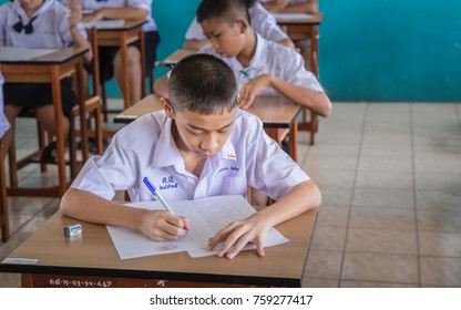 SAMUT PRAKAN, THAILAND, NOVEMBER 9, 2017: Unidentified students to write the answers in the classroom for educational and literacy concepts. school. Samut Prakarn Province Thailand's School and educat