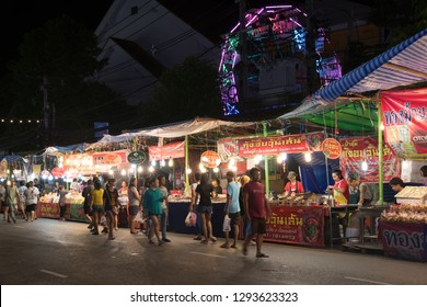 Samut Prakan, Thailand - October 28, 2018: People visit Phra Samut Chedi Temple Fair, The fair is a mixture of OTOP products and a lot to eat, This is the oldest running temple fair in Thailand