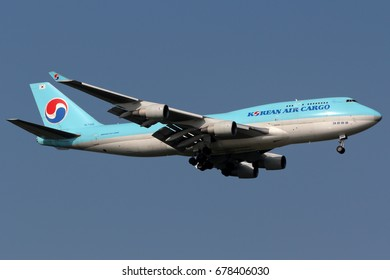 Samut Prakan, Thailand. October 31, 2013. Korean Air Lines Boeing 747-4B5(BCF) Reg. HL7485 on Short Final for Landing at Suvarnabhumi International Airport with Blue Sky.