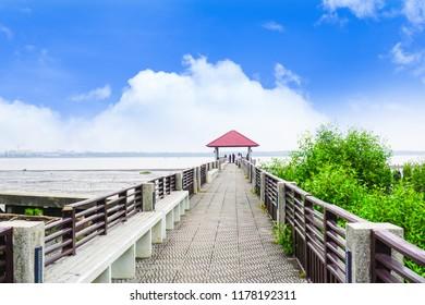 Samut Prakan, Thailand - September 9, 2018 : Bridge to the sea at Chulachomklao Fort.