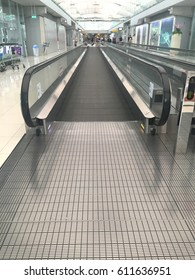 Samut Prakan,THAILAND - MARCH 30, 2017: escalator  inside Suwannabhumi International Airport.