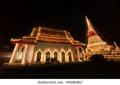 SAMUT PRAKAN,THAILAND- NOVEMBER 1,2015 :Phra Samut Chedi Festival is an important annual event in Samut PraKan is also resplendent during the fair with elaborate lights decorating the pagoda.Thailand.