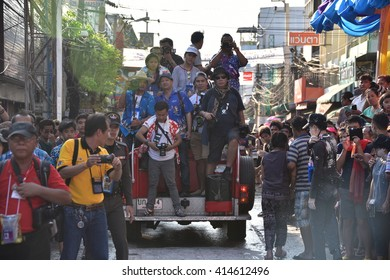 Samut Prakan,Thailand-APRIL 24,2016: The Phra Pradaeng,Songkran Festival Parade starts at about 3pm. The waterfights have already started