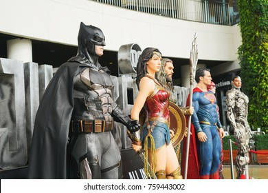 SAMUT PRAKARN, THAILAND - 21 NOVEMBER 2017 - Model of Batman and other heroes (from The movie Justice League) displays at Megabangna Shoppingcenter