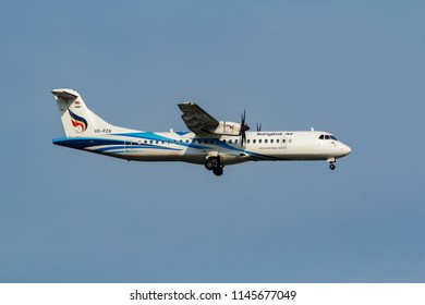 Samut Prakarn, Thailand. April 8, 2018. Bangkok Airways Asia Boutique Airline ATR 72-600 (72-212A) Reg. HS-PZA on Short Final Approach for Landing at Suvarnabhumi Airport with Blue Sky