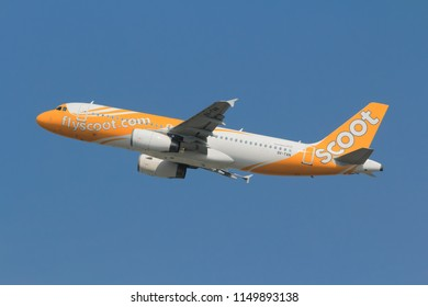 Samut Prakarn, Thailand. April 8, 2018. Scoot Airbus A320-232 Reg. 9V-TAN Taking Off from Suvarnabhumi Airport to Singapore with Blue Sky