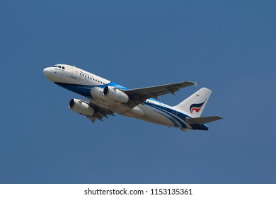 Samut Prakarn, Thailand. April 8, 2018. Bangkok Airways Aisa Boutique Airline Airbus A319-132 Reg. HS-PPC Taking Off from Suvarnabhumi Airport with Blue Sky