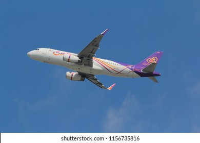 Samut Prakarn, Thailand. April 8, 2018. Thai Smile Airbus A320-232(WL) Reg. HS-TXU  Taking Off from Suvarnabhumi Airport with Blue Sky