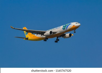 Samut Prakarn, Thailand. April 8, 2018. CEBU Pacific Air Airbus A330-343 Reg. RP-C3341 from Philippines on Short Final Approach for Landing at Suvarnabhumi Airport with Blue Sky
