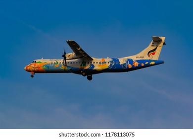 Samut Prakarn, Thailand. April 8, 2018. Bangkok Airways ATR 72-500 (72-212A) Reg. HS-PGB on Short Final Approach for at  Suvarnabhumi Airport with Blue Sky