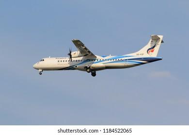 Samut Prakarn, Thailand. April 8, 2018. Bangkok Airways ATR 72-600 (72-212A) Reg. HS-PZF on Short Final Approach for Landing at Suvarnabhumi Airport with Blue Sky