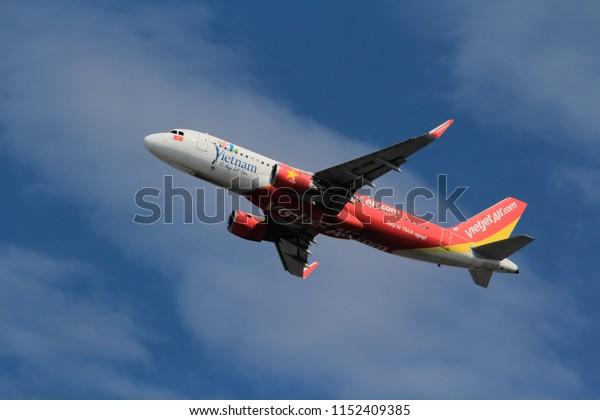 Samut Prakarn, Thailand. April 8, 2018. VietJetAir Airbus A320-214(WL) Reg. VN-A696  Taking Off from Suvarnabhumi Airport with Blue Sky