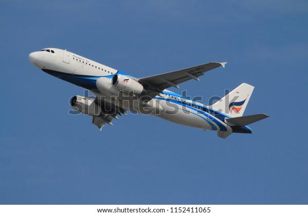 Samut Prakarn, Thailand. April 8, 2018. Bangkok Airways Airbus A320-232 Reg. HS-PPO Taking Off from Suvarnabhumi Airport with Blue Sky