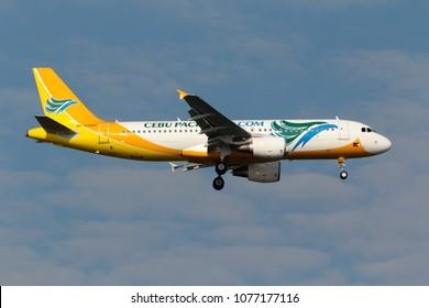 Samut Prakarn, Thailand. October 10, 2013. CEBU Pacific Air Airbus A320-214 Reg. RP-C3269 on Short Final Approaching for Landing at Suvarnabhumi International Airport with Blue Sky.