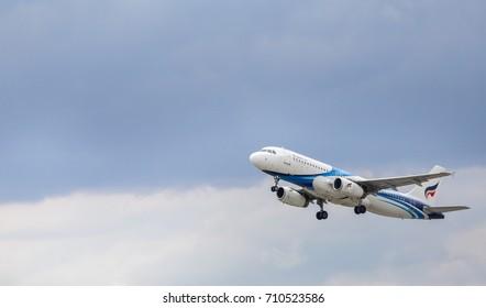 SAMUT PRAKARN,THAILAND-JULY 16:Bangkok air plane takes off at Suvarnabhumi Airport, thailand on JULY 16, 2017 in samut prakarn Thailand