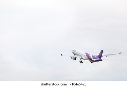 SAMUT PRAKARN,THAILAND-JULY 16:Thai airways plane takes off at Suvarnabhumi Airport, thailand on JULY 16, 2017 in samut prakarn Thailand
