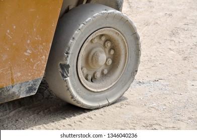 Samut Sakhon, Thailand - 2 February 2019: Forklift tires in the factory.Samut Sakhon, Thailand.