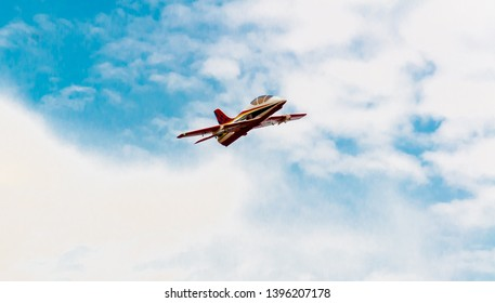 Samut Sakhon, Thailand - 2 May 2019: RC Airplane.Jet aircraft Play together on holiday in Samut Sakhon, Thailand.
