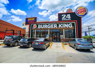 Samut Sakhon, Thailand - July 23, 2017: Cars are waiting for food from the Burger King, located in Samut Sakhon. Popular of people of all ages.