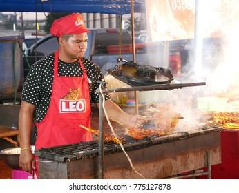 SAMUT SAKHON THAILAND-DECEMBER 14: Roasting chicken traditional Thai food Grilled Chicken on DECEMBER 14, 2017 at mahachai in Samut Sakhon Thailand