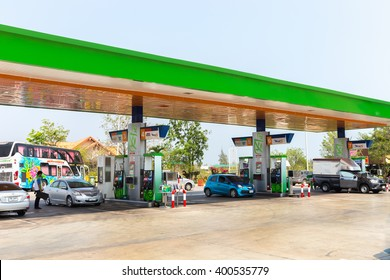 Samut Songkhram, Thailand - April 1, 2016: Bangchak Petroleum Public Company Limited,Logo  Oil Gas Station in Thailand.