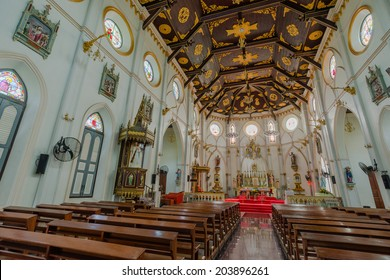 SAMUT SONGKHRAM, THAILAND - MAY 29, 2014  Greatness and beauty of the architecture of the church. Created since BC. 1890.  To date, 124 years ago in Samut Songkhram, Thailand