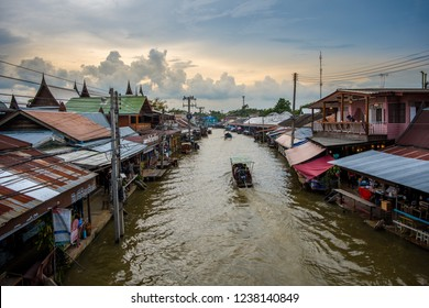 SAMUT SONGKHRAM, THAILAND - NOVEMBER 18, 2018 : Amphawa Floating Market is in the Amphawa District of Samut Songkhram Province, Thailand. Amphawa floating market is the most popular in Thailand.
