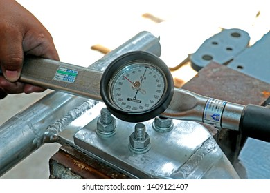 SAMUTPHAKRAN-THAILAND-NOVEMBER 15 : Torque tool of Steel hardware for fitting electrical cable with steel tower at factory, November 15, 2017 Samutphakran Province, Thailand