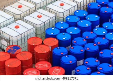 Samutprakan Bang Pu Industrial Estate Thailand - Oct 16 th, 2016: oil barrels or chemical drums blue  white and red stacked up