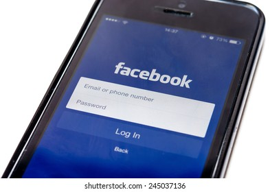 SAMUTPRAKAN, THAILAND - December 28, 2014: Loging in Facebook app on Iphone5C Facebook is the largest social network in the world. It was founded in 2004 by Mark Zuckerberg .