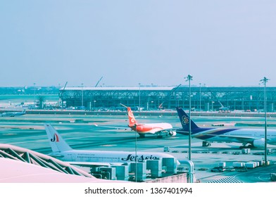 Samutprakan, Thailand - March 17th, 2019: The plane is on the runway at the Suvarnabhumi Airport