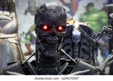 SAMUTPRAKARN - DECEMBER 29 : Future Terminator Figure Model  Statue characters in the Terminator  on display at Robot Dessert Cafe on DECEMBER 29, 2019 in SAMUTPRAKARN, Thailand