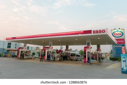Samutprakarn, Thailand - Jan 18, 2019: ESSO (Exxon) gas station with blue sky background. Esso gas station. Esso a trading name for Exxon Mobil, an American multinational oil and gas corporation.