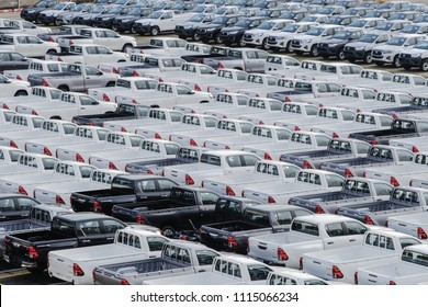 Samutprakarn, Thailand May, 28,2018 : A lot of new pickup trucks are parked in the car stock yard of Toyota motor Thailand.