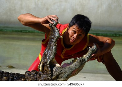 (Samutprakarn),THAILAND - 25 DECEMBER 2016: It is crocodile show at farm on 25 December 2016 in (Samutprakarn),Thailand. This is show from tourist and people Thailand.