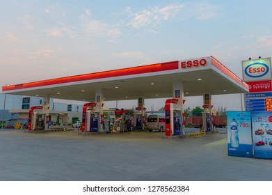 Samutprakarn,Thailand - Jan 8, 2019: ESSO (Exxon Mobile) gas station during sunrise background. Esso gas stations and products including gasoline, diesel, motor oil, gift cards, credit cards and more.