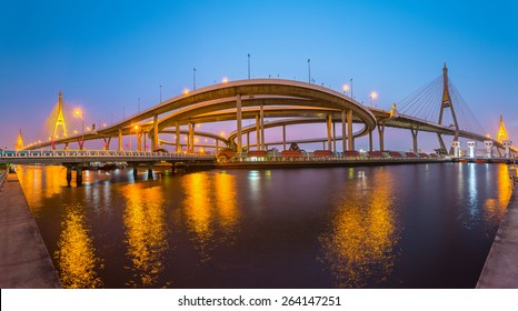 SAMUTPRAKARN,THAILAND - MARCH 12, 2015 : Bhumibol Bridge in Thailand, also known as the Industrial Ring Road Bridge, in Thailand. The bridge crosses the Chao Phraya River twice.