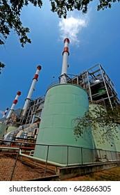 SAMUTPRAKHAN-THAILAND-APRIL 11 : South Bangkok Power Plant ,  The electricity produced from natural gas on April 11, 2016 Samutprakhan Province, Thailand.