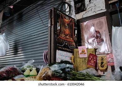 SAMUTSAKHON, THAILAND - March 09: Sacred things that merchants respect. on  March 09,2017 in Samutsakhon, Thailand.