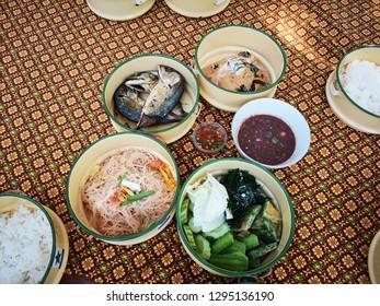 Samutsongkhram/Thailand - 7 January 2019  Thai foods at Talat Rom Bowon ,New Market on the amphawa,