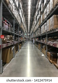 SAMUYPRAKAN,THAILAND - MAY 19 2019: Channels between the product shelves without people  in IKEA MEGABANGNA in Thailand