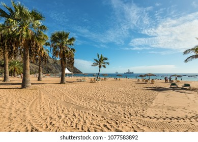 San Andres, Canary Islands, Spain - Desember 11, 2016: People rest on the famous Las Teresitas beach in the north of Tenerife, Canary Islands, Spain.