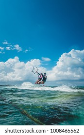 SAN ANDRES ISLAND, Colombia _ Circa March 2017.  Kitesurfing Teacher during a Course near the Shore of San Andres Island,