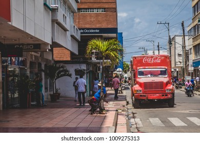 SAN ANDRES ISLAND, Colombia _ Circa March 2017. Old Coca Cola Truck Parked Downtown in San Andres Island