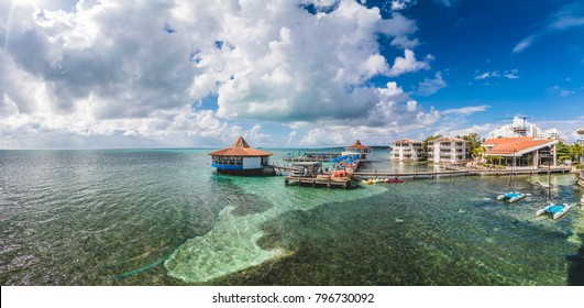 SAN ANDRES ISLAND, Colombia _ Circa March 2017. Panorama of Decameron  Aquarium All Inclusive Resort from a Balcony over the sea.