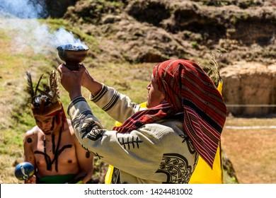San Andres Semetabaj, Lake Atitlan, Guatemala - November 10, 2018:  Maya shamen perform land blessing ceremony for new Maya ballgame court before a ballgame at Lake Atitlan in Guatemalan highlands.