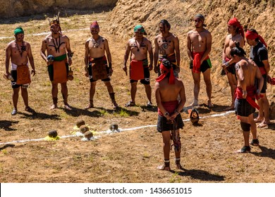 San Andres Semetabaj, Lake Atitlan, Guatemala - November 10, 2018:  Maya men perform land blessing ceremony for new Maya ballgame court before a ballgame at Lake Atitlan in Guatemalan highlands.