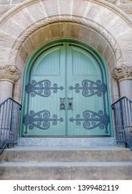 San Anselmo California - May 5, 2019: Montgomery Chapel Door of the San Francisco Theological Seminary.