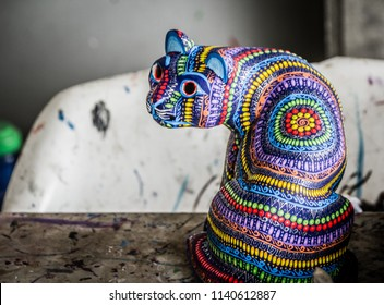 San Antonio Arrazola, Oaxaca / Mexico - 21/7/2018:  (Traditional alebrijes handcrafts, made by the indigenous people of San  Antonio Arrazola Oaxaca Mexico)