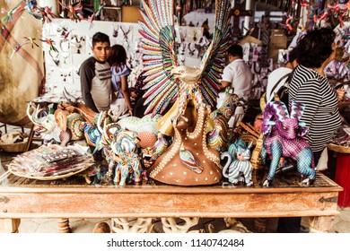 San Antonio Arrazola, Oaxaca / Mexico - 21/7/2018:  (Traditional alebrijes workshop and store in San  Antonio Arrazola Oaxaca Mexico)